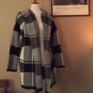 NWOT Black and white plaid sweater jacket